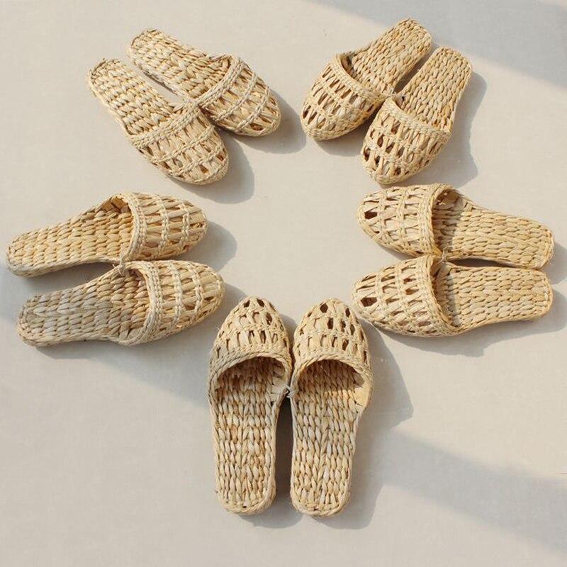 AGESEA fashion women's men's straw slippers handmade Chinese sandals XL 34-44 unisex summe