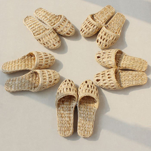AGESEA fashion women's men's straw slippers handmade Chinese sandals XL 34-44 unisex summer home shoes new couple shoes lstycx2