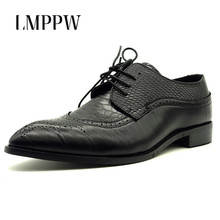 New Fashion Men Leather Casual Shoes Big Size 38-48 Bullock Business Oxford Red Yellow Black Flats 2.5