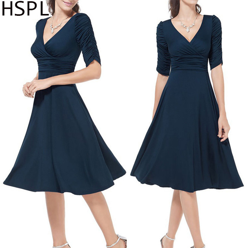 HSPL Femmes été robe Rockabilly Business Office travail Swing soirée Party Wrap robes 2019 Deep V Neck Lady Sexy Dress