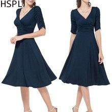 HSPL Women summer Dress Rockabilly Business Office Work Swing Evening Party Wrap Dresses 2019 Deep V Neck Lady Sexy Dress