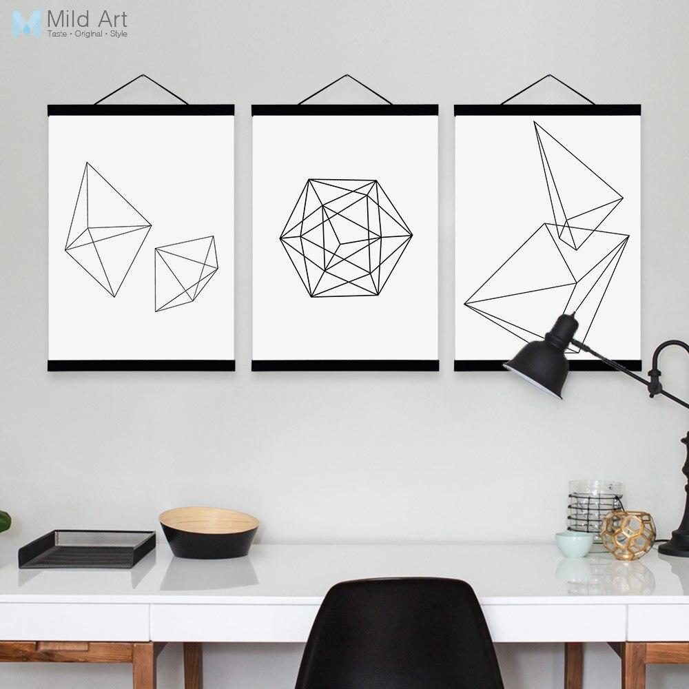 Modern Black White Abstract Geometric Shape Wooden Framed