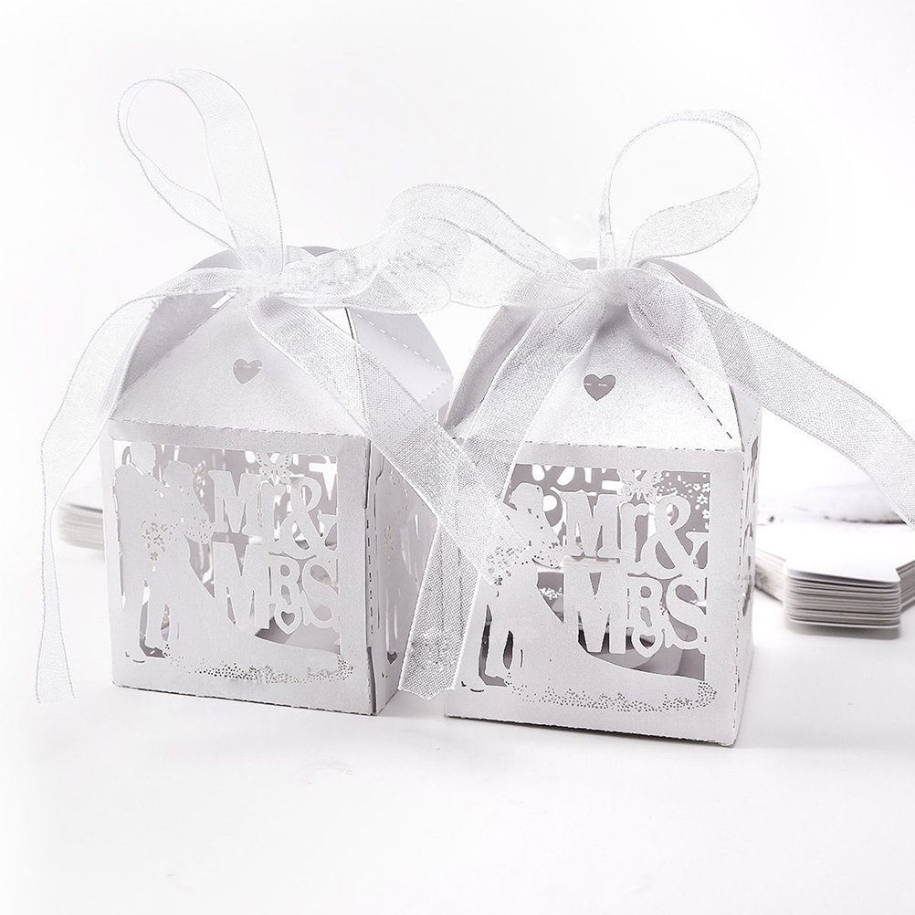 Mr & Mrs Wedding Candy Box Sweets Gift Favor Boxes With Ribbon Party ...