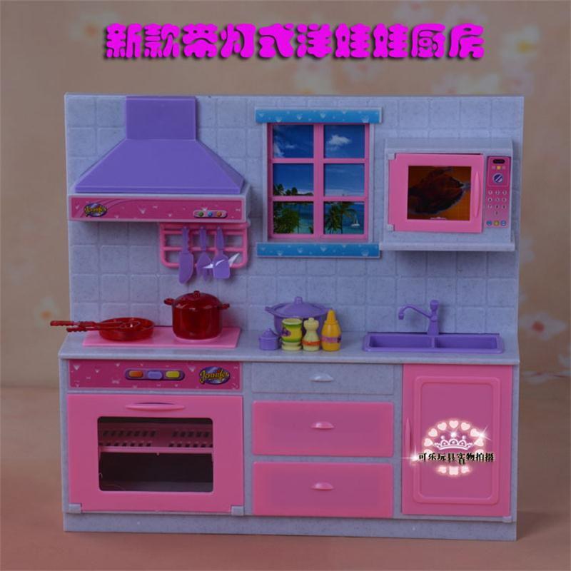 For Barbie Doll Furniture Accessories Plastic Toy Dream Light Kitchen Kitchenware Cabinet Stoves Play House Gift Girl DIY