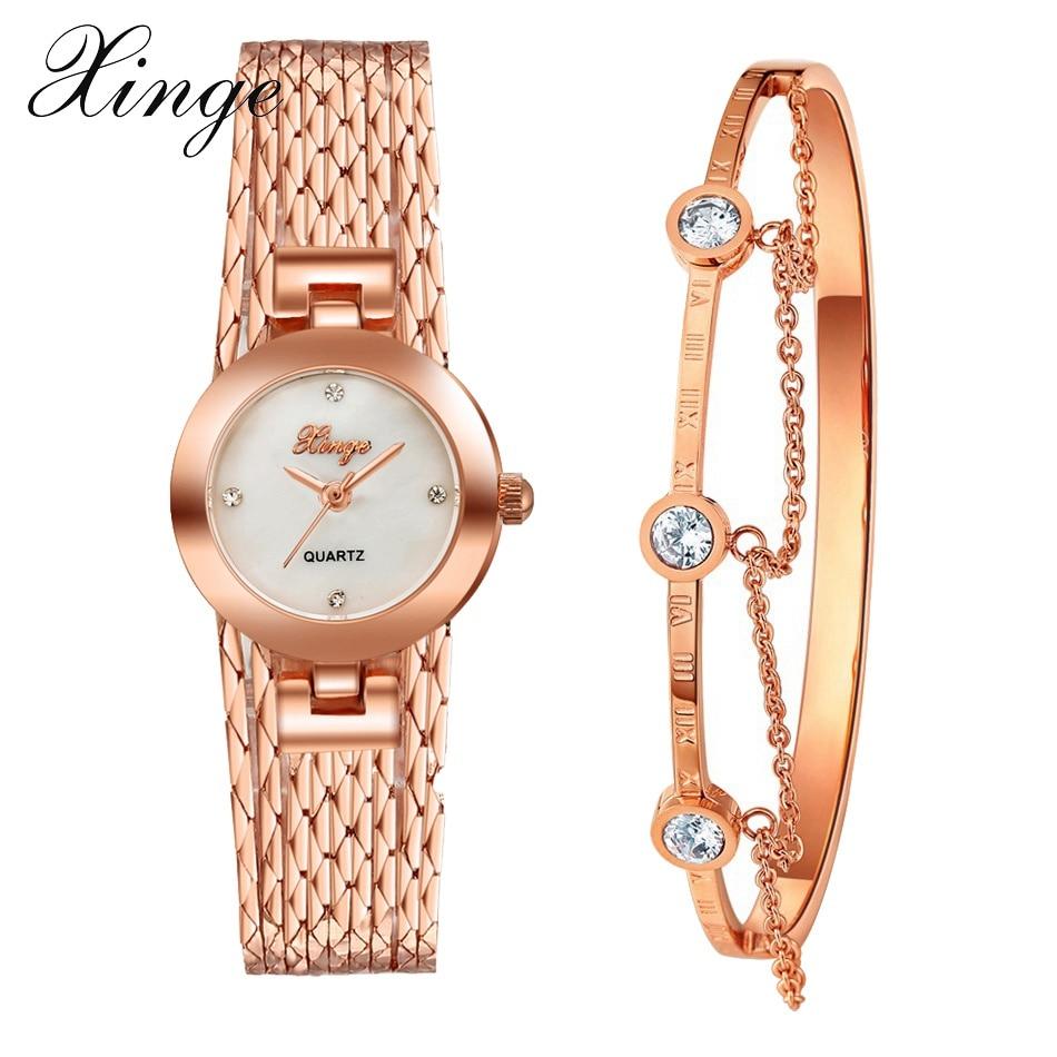 Xinge Brand Luxury Set Women New Fashion Gold Watch Crystal Watches Female Quartz Wristwatches Ladies Dress Clock Watch xinge brand 2017 new arrival fashion
