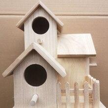 Hut House Garden Wooden Box DIY Pet Toy Bird Nest Creative Shaped Birdhouse Hanging Home Decoration