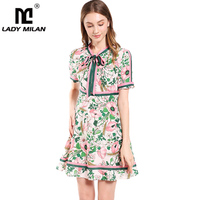 Lady Milan Women's Runway Dresses Bow Collar Short Sleeves Ruffles Floral Printed Striped Fashion Summer Casual Dresses