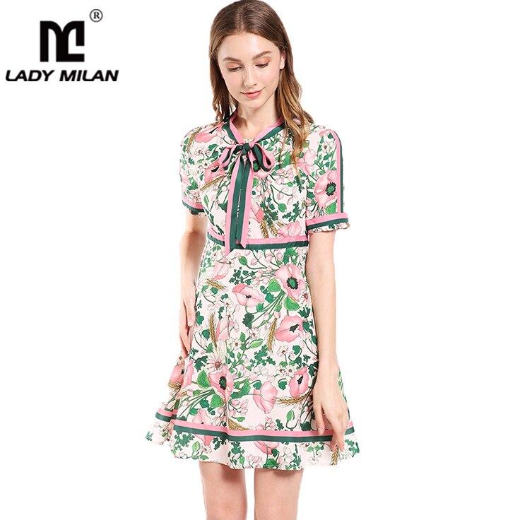 Lady Milan femmes robes de piste col rond manches courtes volants Floral imprimé rayé mode d'été robes décontractées