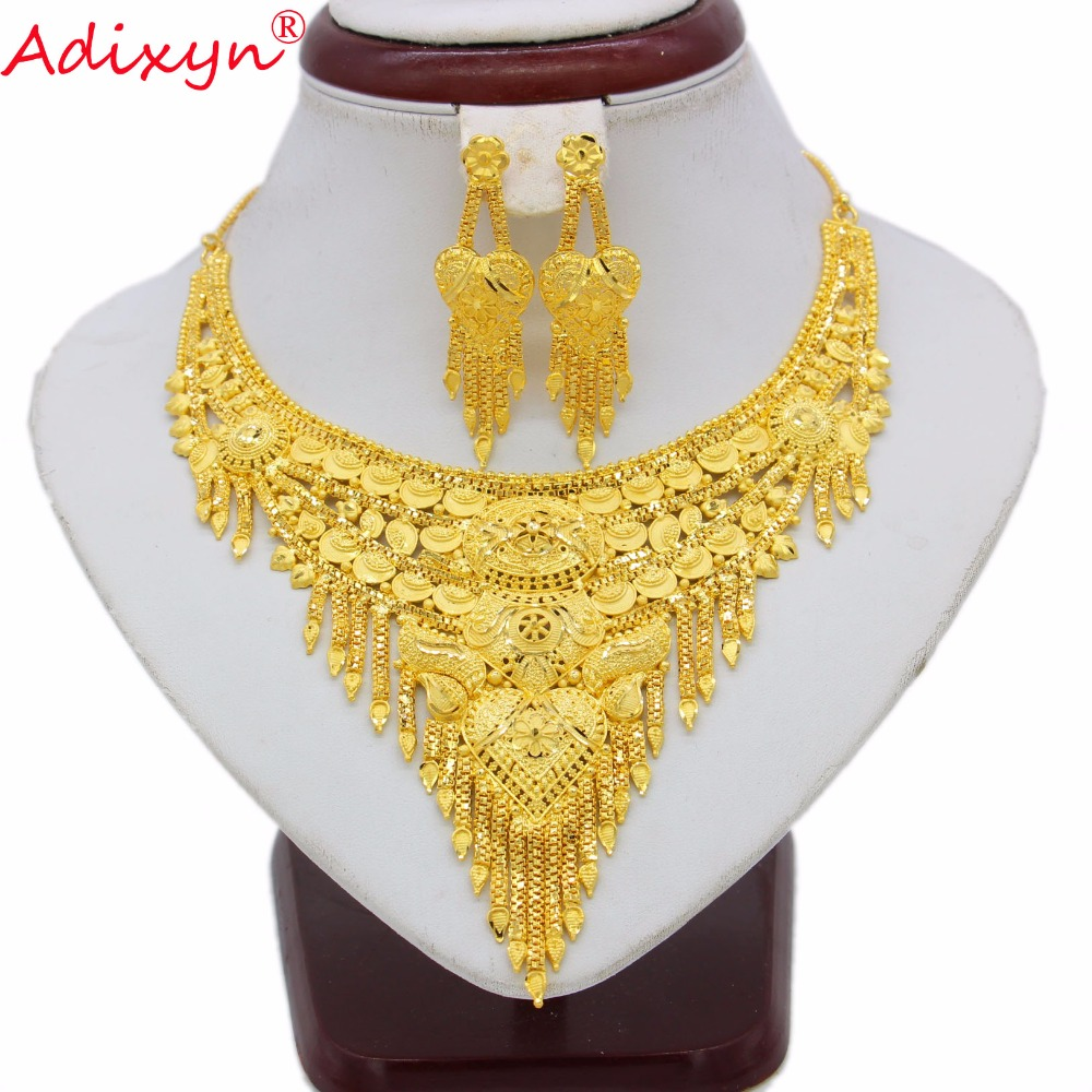Adixyn Bling Hanging Necklace/Earrings Jewelry Set Women Girls Gold Color Valuable Ethiopian/African Wedding Accessories N07019
