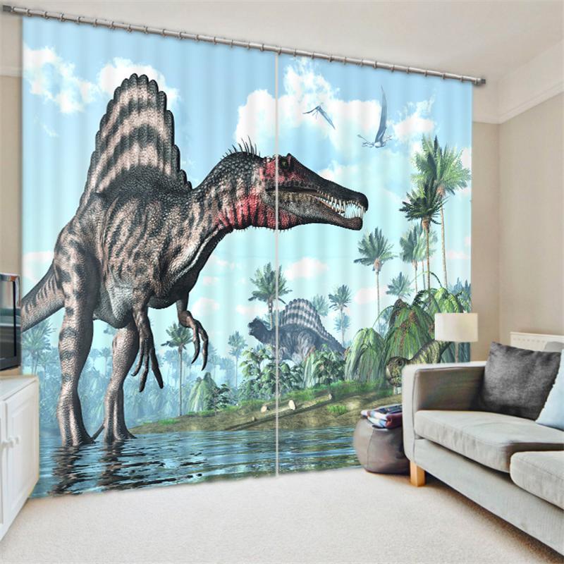 Modern Design 3D Animal Printed Dinosaurs Curtains Tiger Lion Leopard Darkening Drapes Window Decor Curtains for