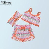 3pcs Instagram Fashion 1 4 Yaesr Tassel Tank Top Vest And High Waist Print Short Pants