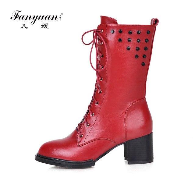 Fanyuan Sexy carré mi,talons noir femmes moto bottes à lacets femmes Rivets  Punk bottes
