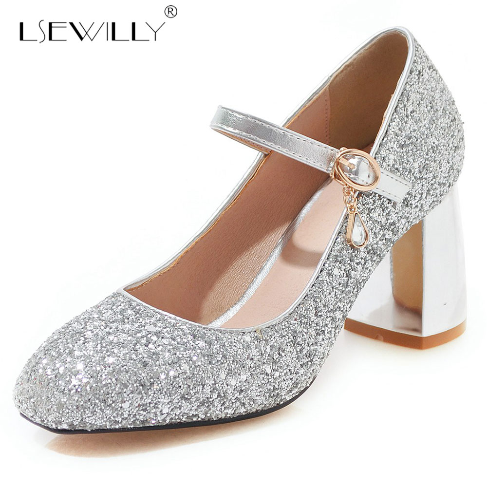 Lsewilly Sequined Cloth Pumps Women Round Toe Footwear Thick Heels Mary Jane Bling Shoes Female Wedding Ballet Shoes Woman E664 in Women 39 s Pumps from Shoes