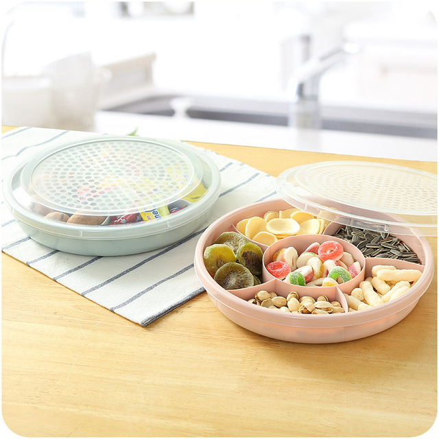 Plastic Household Sub-grid Nut Candy Cookies Storage Tray Box with Lid Dish Party Snacks Plate