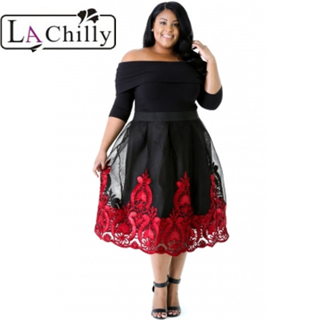 La Chilly Plus Size Dress 2018 Red Lacy Embroidery Tulle Dress Curvy