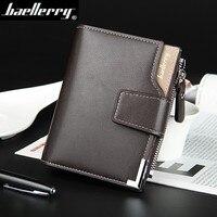 Hot Sale Quality Soft Leather Men Wallets Vertical Business Leisure 3 Folds Hasp Zipper Credit Card