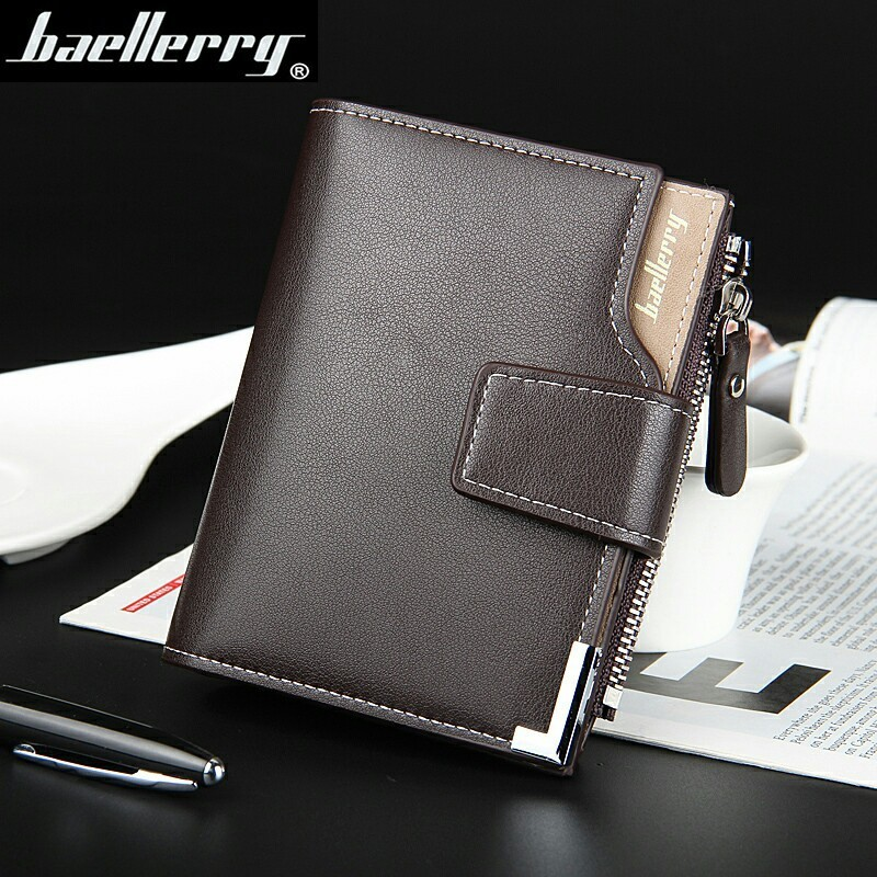 Hot Sale Quality Soft Leather Men Wallets Vertical Business Leisure 3 Folds Hasp Zipper Credit Card Holder Wallet Free Shipping