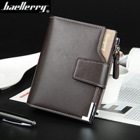 Hot Sale Quality Soft Leather Men Wallets Vertical Business Leisure 3 Folds Hasp Zipper Credit Card