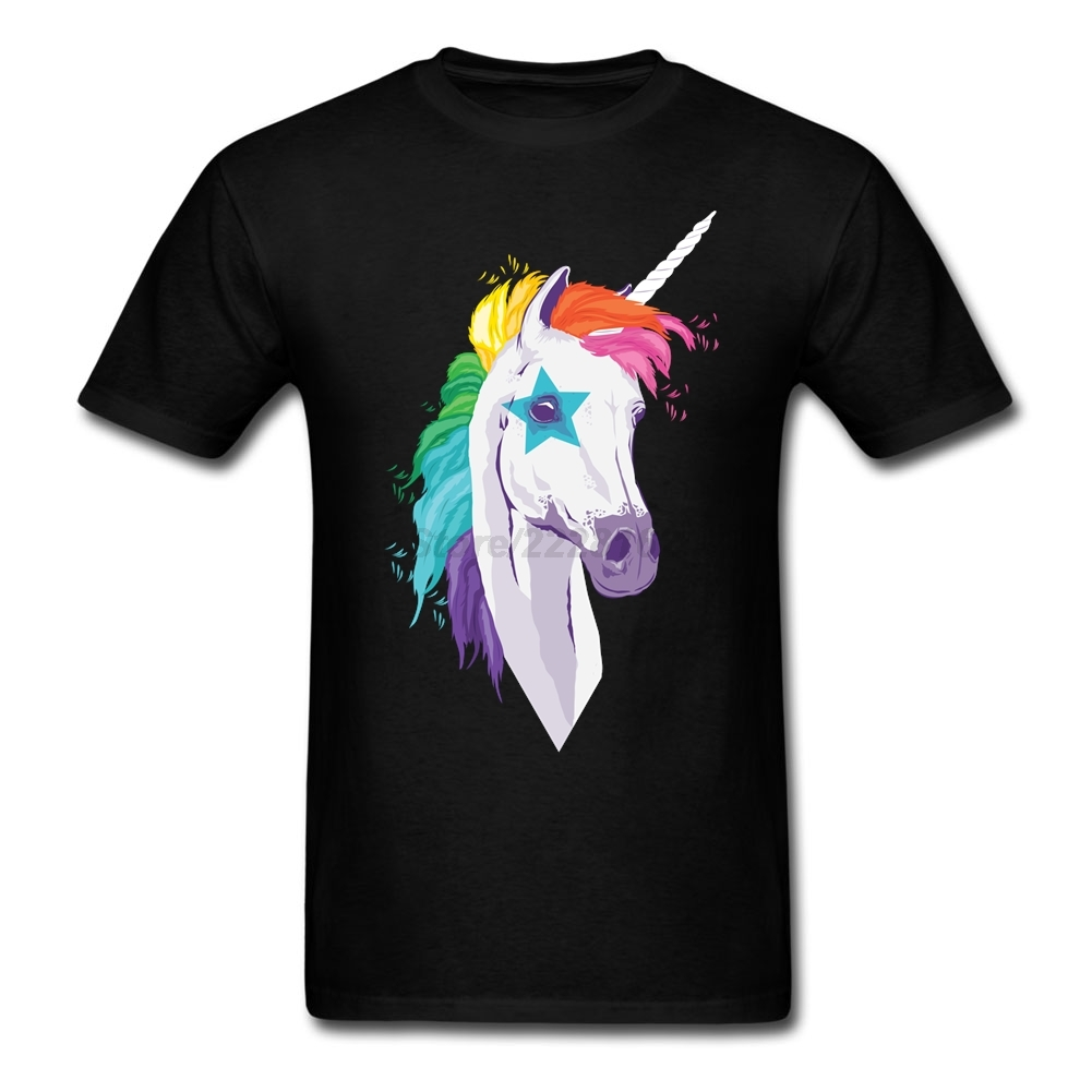 Personality R&B Tee Shirts men Size M Rainbow Unicorn man Tee Summer Magical Unicorns Camisa For Boyfriends