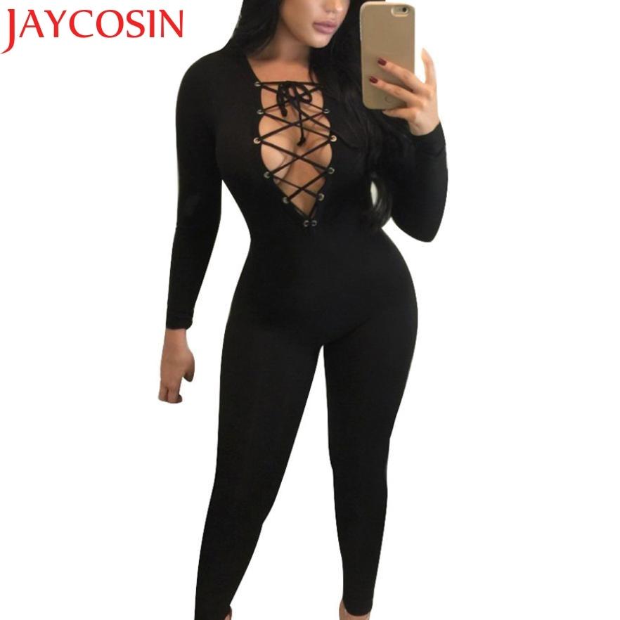 2017 Women Casual long Sleeved V Neck Slim Jumpsuit J512