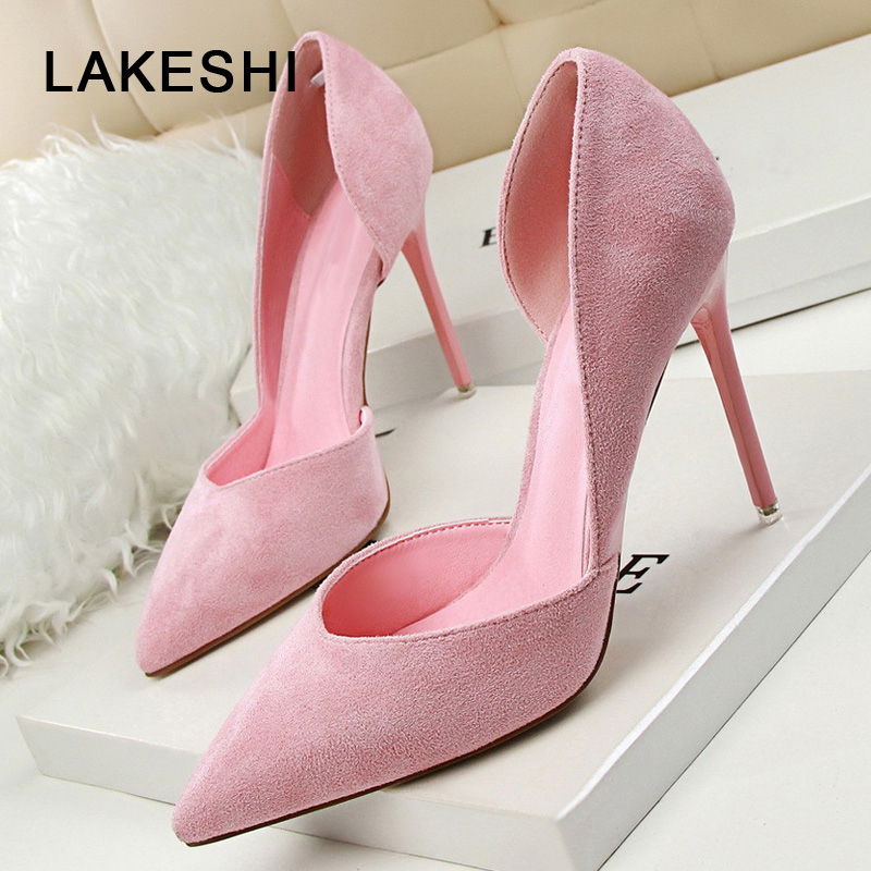 LAKESHI Women Pumps Suede Shoes Women Heels Summer Shoes Woman Extreme High Heels Sexy Pumps Shoes Ladies Shoes women pumps sexy office lady shoes extreme high heels stiletto suede shoes women heels fashion pointed toe pumps ladies shoes