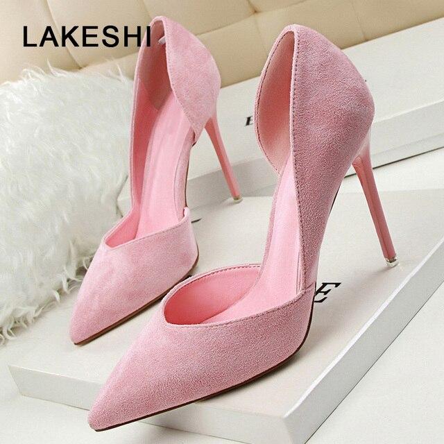 f0921092c292 LAKESHI женские туфли-лодочки, замшевые туфли, женские летние туфли на  каблуке,