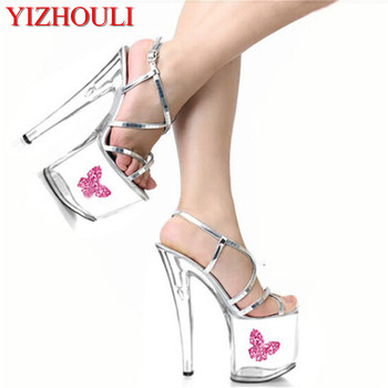 2018 Fashion Sexy Silver Bling Crystal Sandals Wedding Shoes 20cm High Heel Shoes Sexy Clubbing High Heels