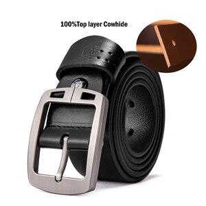 Image 5 - BISON DENIM Genuine Leather Mens Belt Vintage Pin Buckle Accessories Male Belts Gift Designer Belt Men Jeans Belt N70781