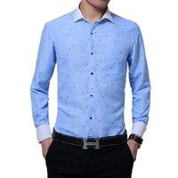 Hot Selling Men S Shirt Spring Fashion Print Long Sleeve Work Shirt Mens Clothing Trend Slim