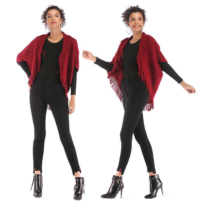 PGSD осенне-зимняя уличная мода женская одежда однотонный кардиган с бахромой свободный рукав «летучая мышь» Вязанная женская шаль куртка женская