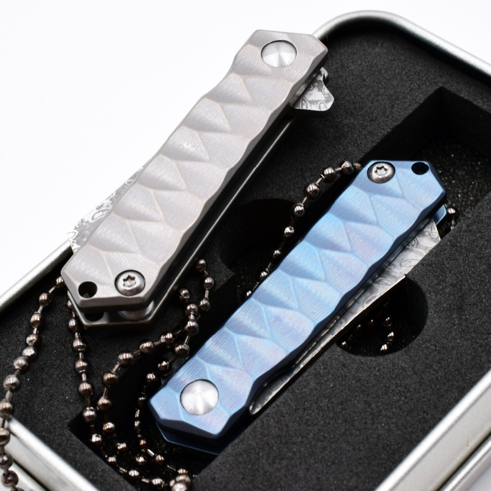 Купить с кэшбэком Mini Folding Knife Paper Out Of The Box Pocket Knife Carry Key Ring Necklace Titanium Damascus EDC Tools Survival Camping Knives