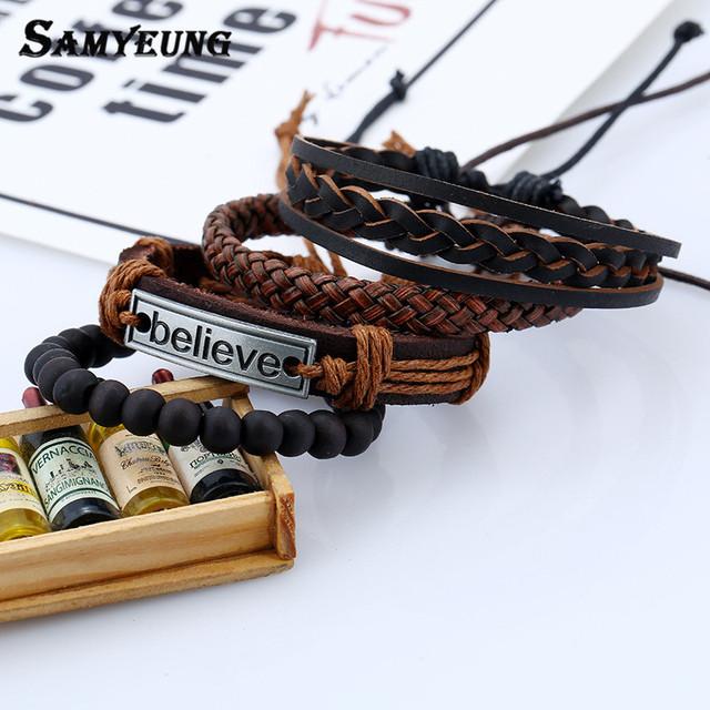 4 Pcs Genuine Leather Bracelets for Unisex Friendship Believe Bracelet Beads Bracelet