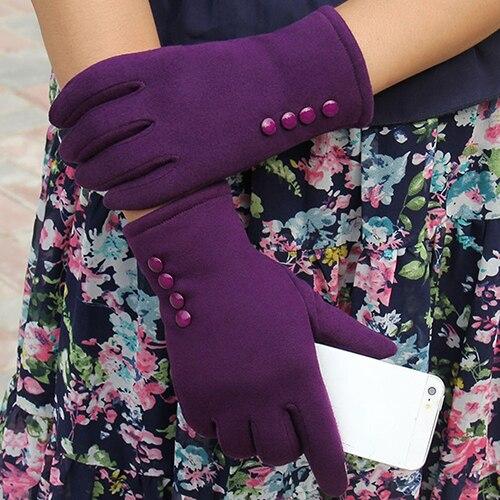 1 Pair Women Fashion Touch Screen Outdoor Sport Winter Warm Buttons Gloves Hot Sale