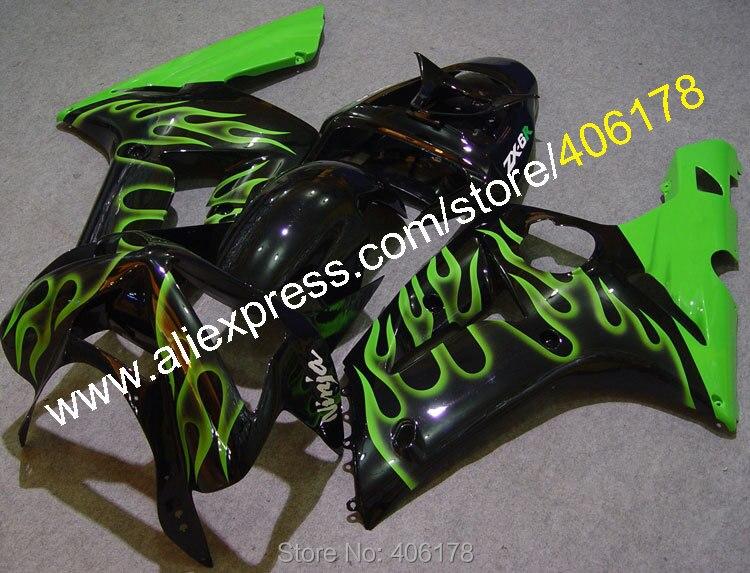 Hot Sales,For Fairing Kawasaki ninja zx6r Parts 03 04 ZX6R 636 2003 2004 Green Flame Motorcycle Fairing Kits (Injection molding)
