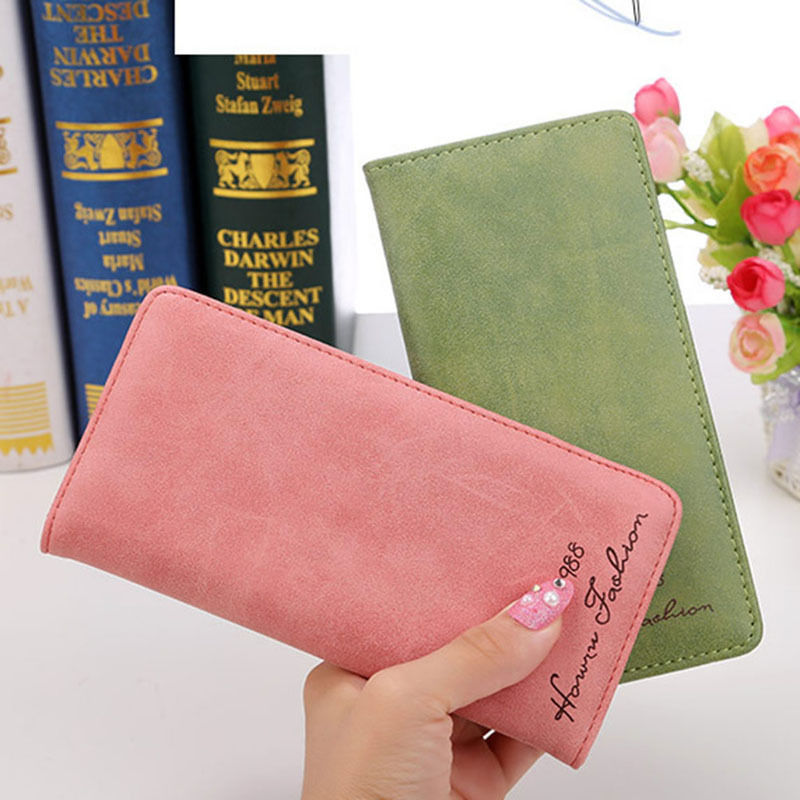 New Fashion Women Lady Bifold Wallet Faux Leather Long Clutch Hasp Solid Purse Coin Pocket Note Compartment Photo Holder  new arrive 1pc women lady faux leather clutch envelope wallet long card holder purse hollow hot