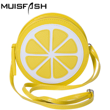 Fashion Women Messenger Bags Small Shoulder Bag Lemon Shape Handbag Women Bag Mini Circular Crossbody Bag Bolsa Feminina LS1021