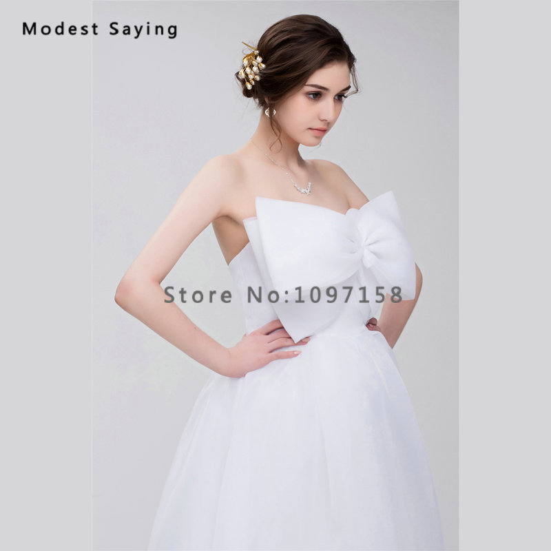 Simple White Ball Gown Wedding Dresses 2017 With Big Bow Formal Women Long Church Puffy Bridal Gowns Vestido De Noiva Sereia In From