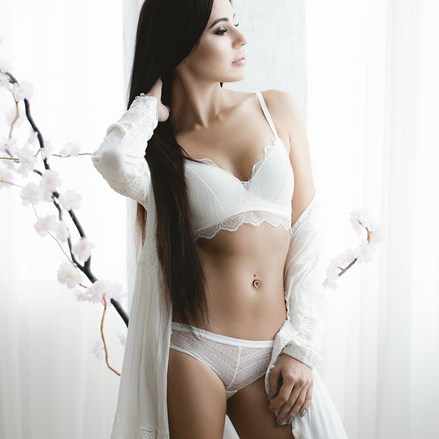 VS Brand Bra Set Ultra thin Cotton Women bra and panty Lingerie Sexy Embroidery Lace Underwear Sets White  12350