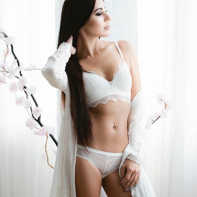 VS Thương Hiệu Áo Ngực Thiết Lập Siêu mỏng Bông Phụ Nữ áo ngực và Đồ Lót panty Sexy Thêu Ren Bộ Đồ Lót Trắng 12350