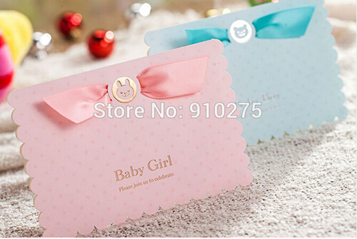 50pcslot 3d cute baby girlbaby boy birthday invitation card pink 50pcslot 3d cute baby girlbaby boy birthday invitation card pinkblue baby shower party invite with satin ribbon in cards invitations from home garden filmwisefo