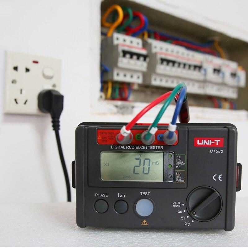 Testeur de commutateur de protection contre les fuites UT582 de UNI-T, testeur numérique RCD (ELCB), commutateur de phase numérique, fonction de rampe automatique, invite de mauvaise utilisation - 2