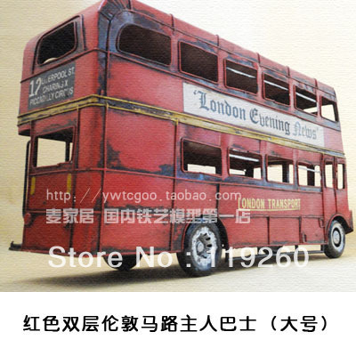 Sole sale free shipping Double layer bus metal car models bus model decoration props bar decoration