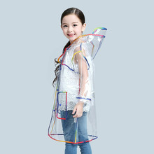 Boys Girls Transparent EVA Raincoat  Hodded Outdoor Poncho Waterproof Rainwear Children Kids