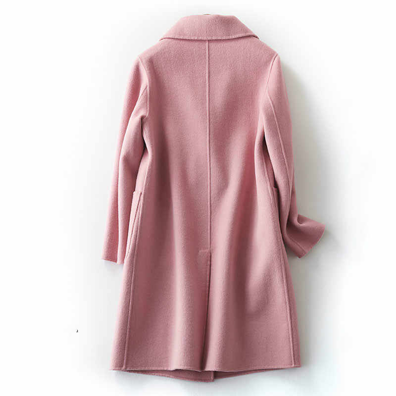 Элегантные бежевые розовые верблюжьи шерстяные женские пальто Зимние теплые 2018 женские Xlong шерсятнное пальто женские офисное пальто Дамская Свободная верхняя одежда