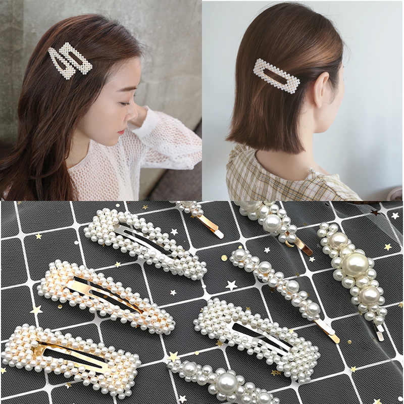 2019 New Fashion Pearl Hair Clip for Women Elegant Korean Design Snap Barrette Stick Hairpin Hair Styling Accessories