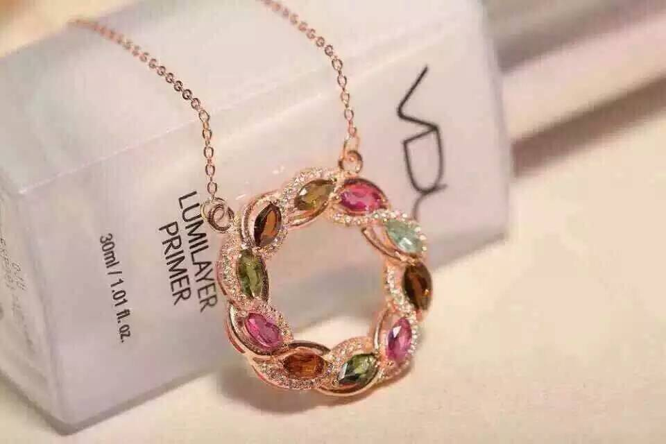 цена Natural multicolor tourmaline Necklace natural gemstone Pendant Necklace S925 silver Fashion Elegant Circle fire wheel Jewelry в интернет-магазинах