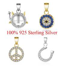 100% Sterling Silver Devil Eye Peace Symbol Lucky Horseshoe Demon Face Charm Pendant for Women's Necklaces Gift(China)