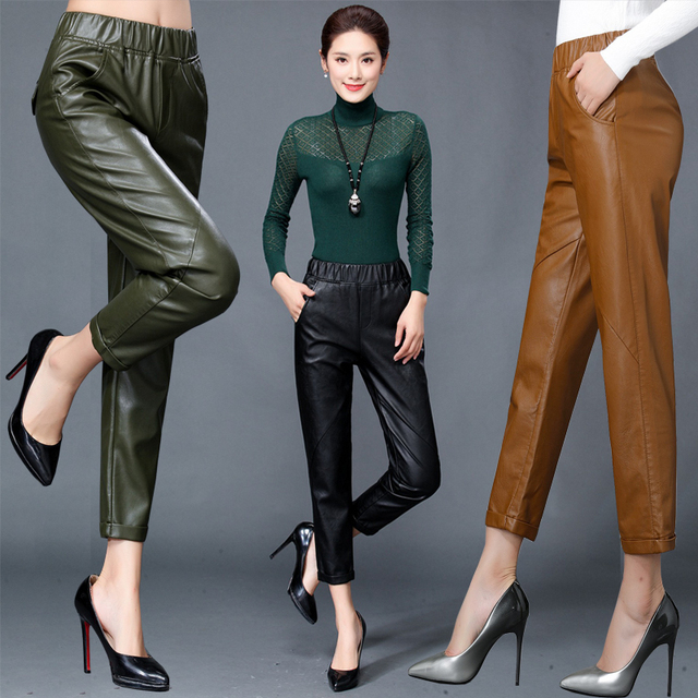 high quality Women's Genuine Leather Harlan Trouser Women Harem Pant Casual Leather Trousers Loose Elastic waist Capris Autumn
