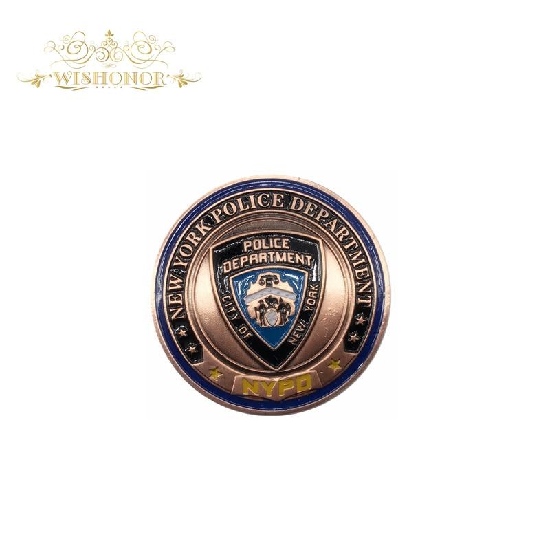 Подарок для Департамента полиции Нью-Йорка Бронзовые военные монеты, Бронзовые армейские монеты с круглой пластиковой коробкой для коллекции