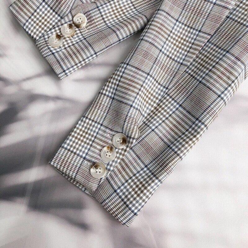 Casual Plaid Women Blazer Jacket Notched Collar Double Breasted Female Suit Coat Fashion Outerwear blaser femme Jacket 29